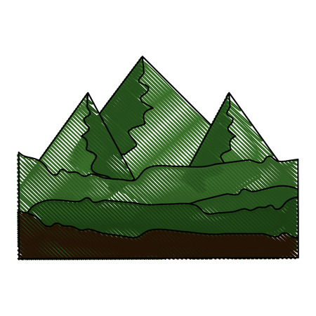 green mountains icon over white background colorful design vector illustration