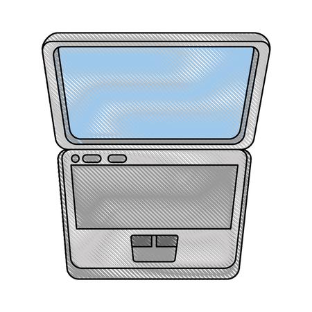 白地カラフルなデザインのベクトル図にラップトップ コンピューターのアイコン