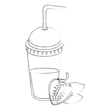 strawberry smoothie icon over white background vector illustration