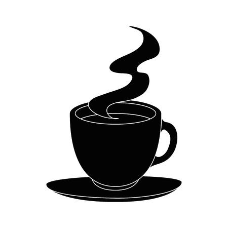 hete koffiemok pictogram op witte achtergrond vectorillustratie
