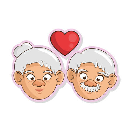 heart with couple of grandparents  icon over white background colorful design vector illustration