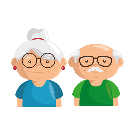 couple of grandparents icon over white background colorful design vector illustration