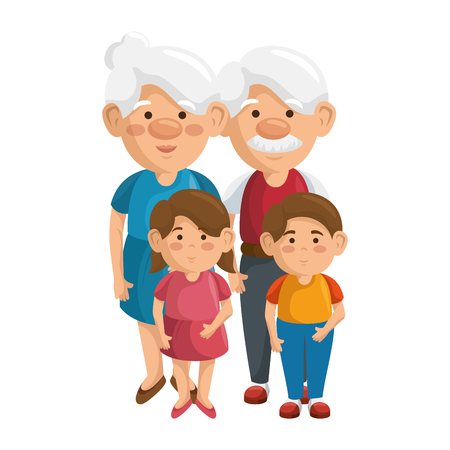 couple of grandparents and kids icon over white background colorful design vector illustration