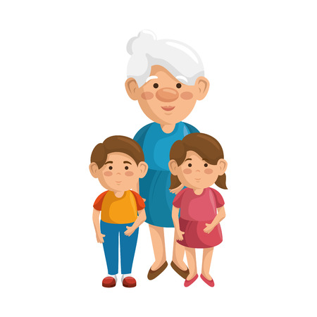grandmother and kids icon over white background colorful design vector illustration Illustration