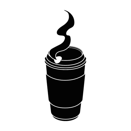 warme koffie beker pictogram op witte achtergrond vectorillustratie
