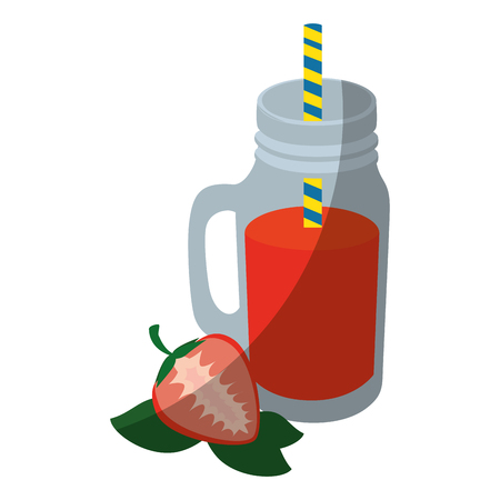 strawberry smoothie icon over white background colorful design  vector illustration
