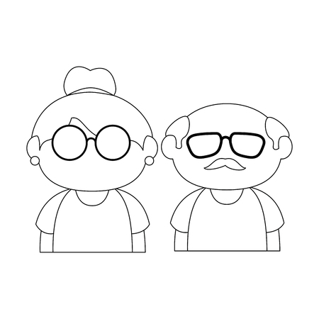 couple of grandparents icon over white background vector illustration