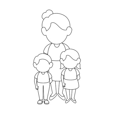 mother with her kids icon over white background vector illustration Illusztráció