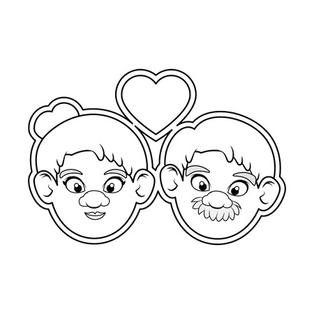 heart with couple of grandparents  icon over white background vector illustration Illustration