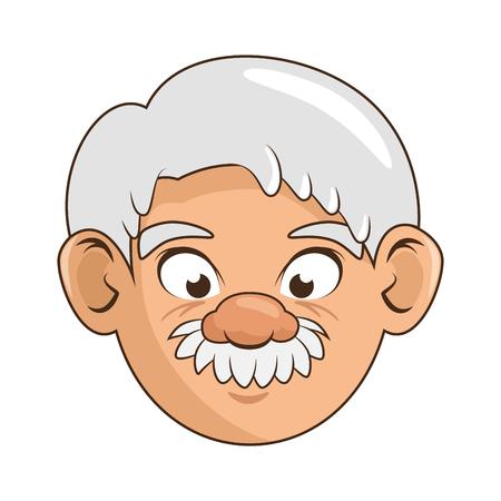 白地カラフルなデザイン ベクトル イラスト上の漫画の祖父アイコン