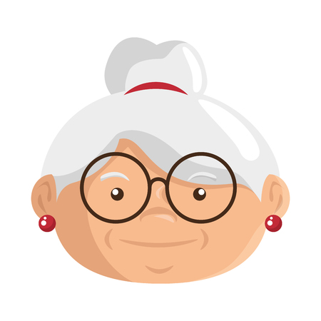 cartoon grandmother icon over white background colorful design vector illustration