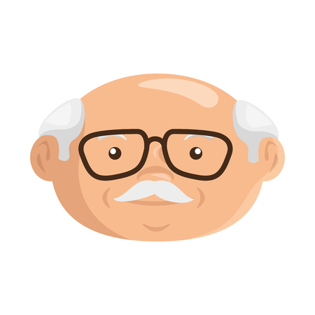 cartoon grandfather icon over white background colorful design vector illustration Иллюстрация