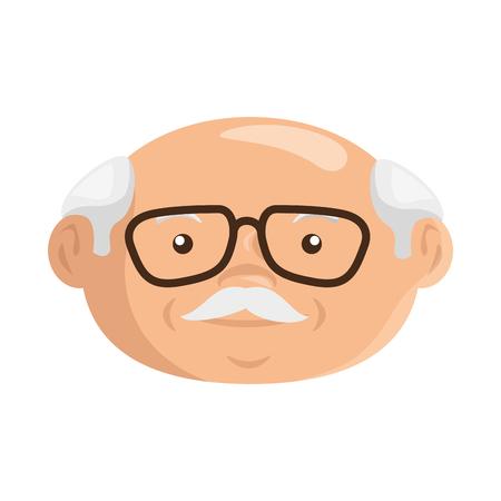 Icono de abuelo de dibujos animados sobre fondo blanco ilustración de vector de diseño colorido Foto de archivo - 80911226