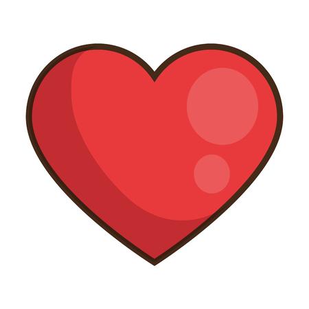 czerwona ikona serca na białym tle kolorowy projekt ilustracji wektorowych