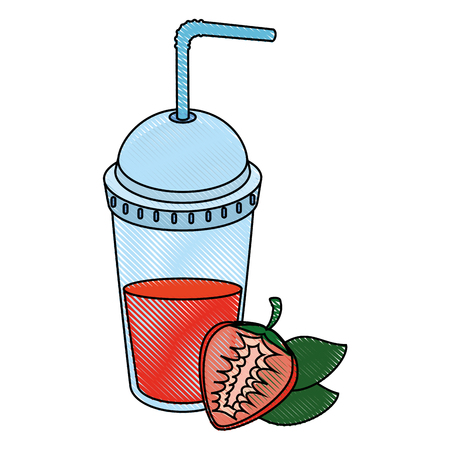 strawberry juice icon over white background colorful design vector illustration