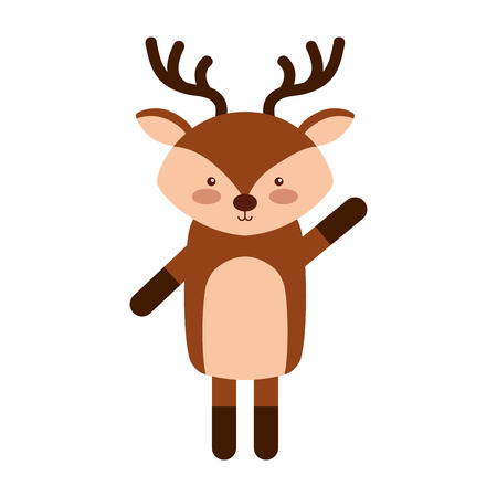 cute: Animal reindeer cartoon icon vector illustration design graphic