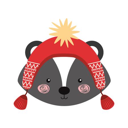 wild mushrooms: Animal Skunk cartoon icon vector illustration design graphic