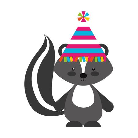 Animal Skunk icono de dibujos animados ilustración vectorial diseño gráfico Vectores