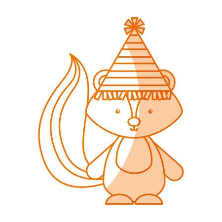 Animal Skunk cartoon icon vector illustration design shadow