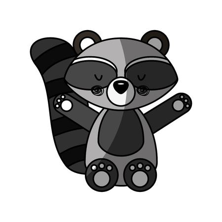 Animal raccoon cartoon icon vector illustration design shadow