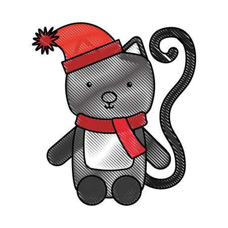 animal cat cartoon icon vector illustration design doodle Illustration