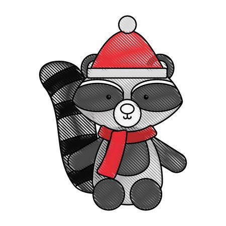 Guaxinim animal dos desenhos animados ícone vector ilustração design doodle Foto de archivo - 80961490