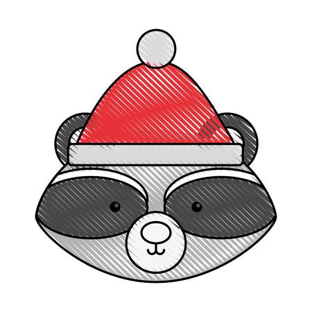 Animal raccoon cartoon icon vector illustration design doodle