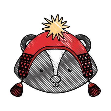 Animal Skunk cartoon icon vector illustration design doodle