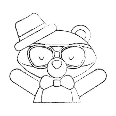 animal raccoon cartoon icon vector illustration design draw royalty