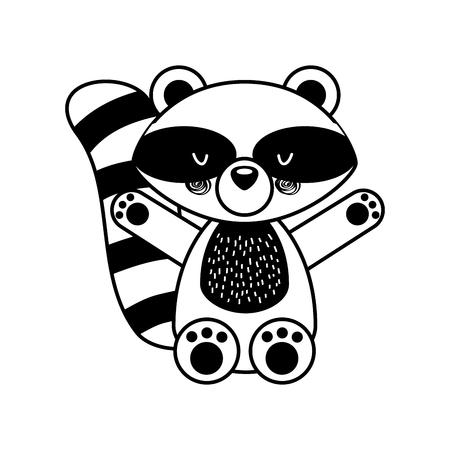 Animal raccoon cartoon icon vector illustration design draw Foto de archivo - 80942108