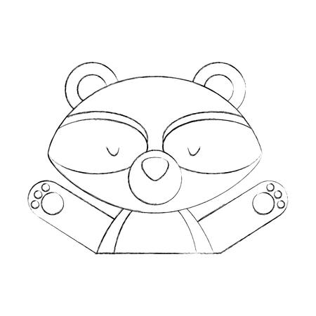 Animal raccoon cartoon icon vector illustration design draw