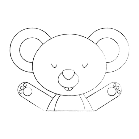 Animal koala cartoon icon vector illustration design draw Illustration