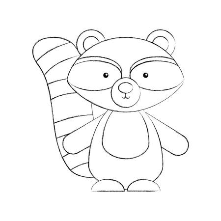 Animal raccoon cartoon icon vector illustration design draw Foto de archivo - 80942180