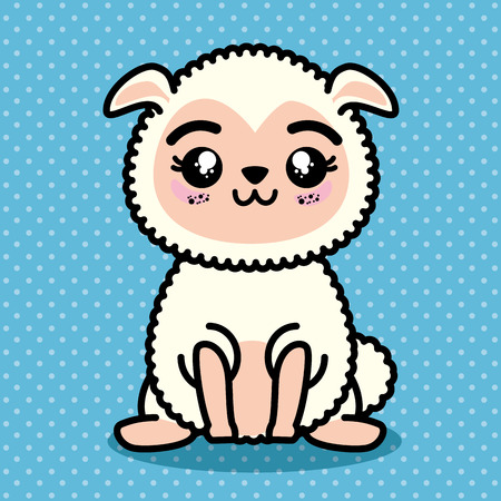 Cute and lovely sheep animal cartoon vector illustration graphic design Illustration