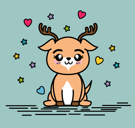 Cute and lovely deer animal cartoon vector illustration graphic design Ilustrace
