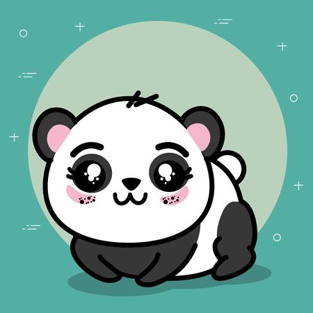 Cute and lovely panda animal cartoon vector illustration graphic design