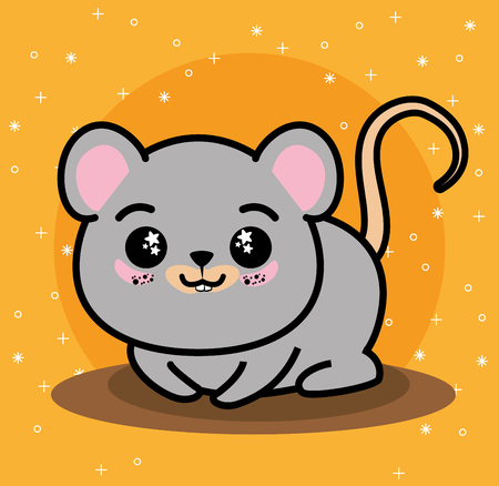 Cute and lovely mouse animal cartoon vector illustration graphic design Illustration