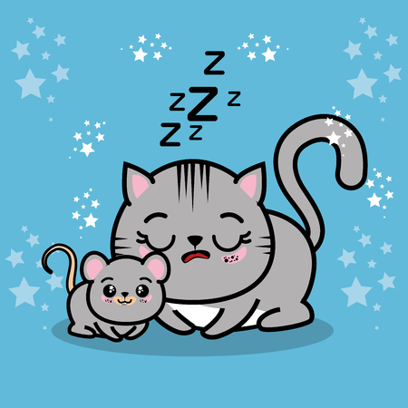 cute sleepy kitten with a mouse vector illustration graphic design Illustration