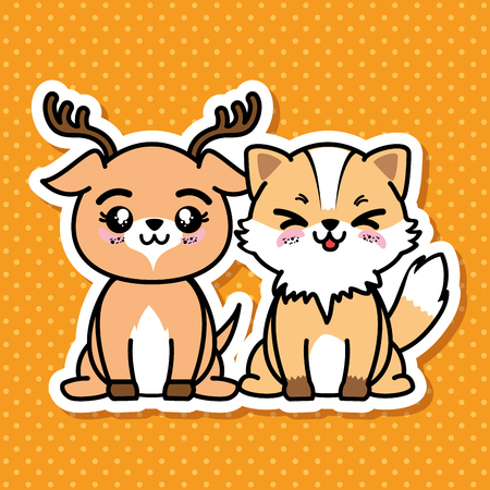 Cute and lovely animals cartoon vector illustration graphic design