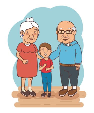 自分の孫を持つ祖父母ベクトル イラスト グラフィック デザイン
