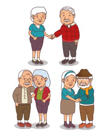 조부모 만화 벡터 일러스트 그래픽 디자인의 집합 일러스트