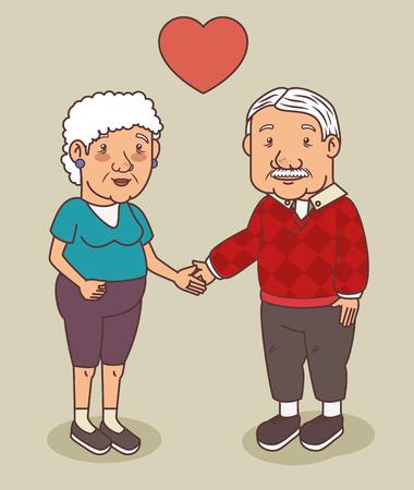 幸せな祖父母の日ベクター イラスト グラフィック デザイン