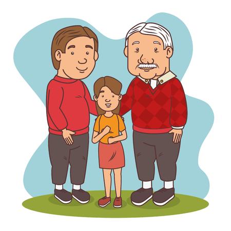 Grandfather with his grandchild cartoon  vector illustration graphic design