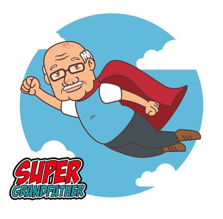 Super grandfather cartoon vector illustration graphic design