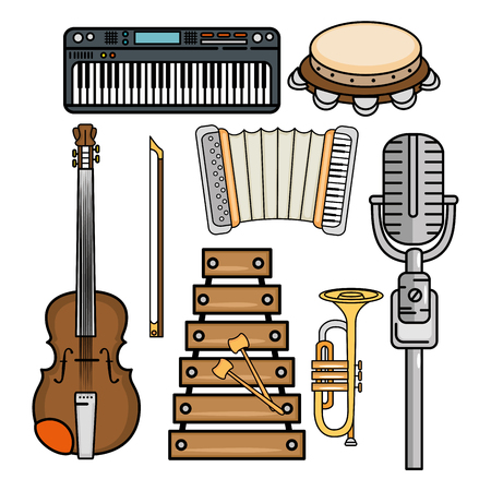 set of musical instruments icon vector illustration graphic design