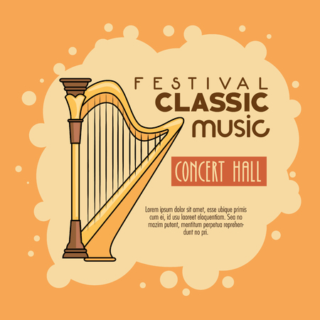symphonic: poster of a festival classic music concert hall vector illustration graphic design