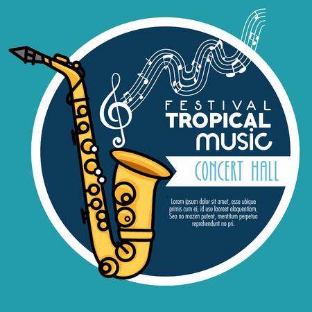 poster festival tropische muziek in een concertzaal vector illustratie grafisch ontwerp