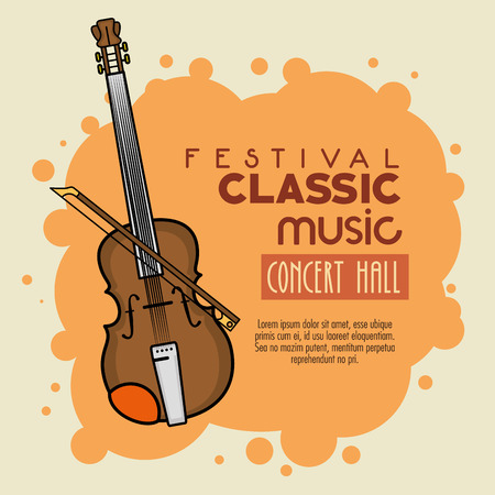 cellos: poster of a festival classic music concert hall vector illustration graphic design