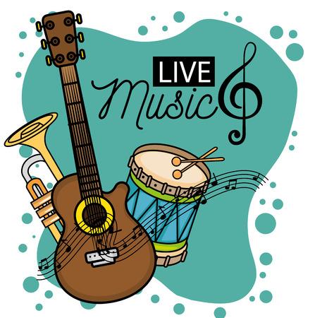 Banner per il concerto live musica illustrazione vettoriale illustrazione grafica Vettoriali