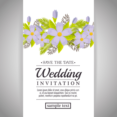 vintage wedding invitation with floral elements vector illustration graphic design Фото со стока - 80962578